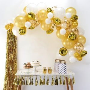 gold and white balloon garland with gold confetti ballons 13 feet