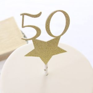 50th and fabulous cake topper in gold