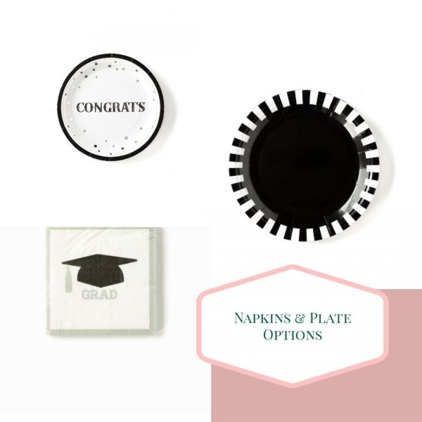 Black White and grey graduation and Halloween Party Plates, New Year's Eve
