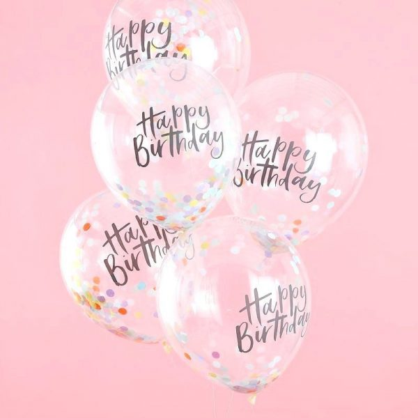 Happy Birthday Confetti Balloons with round rainbow confetti. Perfect for a unicorn party.