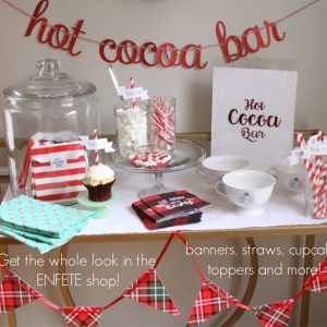 Hot Cocoa Bar Lumberjack Plaid Bunting and Styling