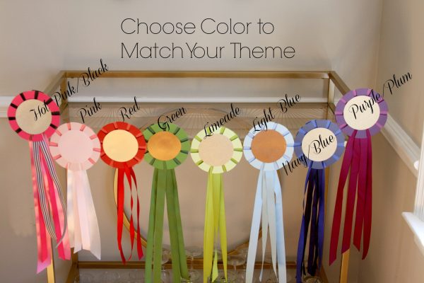 Horse Show Ribbon Decorations available in a range of colors to coordinate with your Derby Party Theme