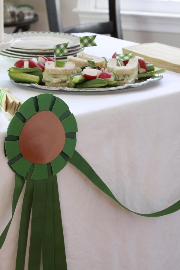 Horse Show Ribbon Garland alongside horseshoe shaped sandwiches for the Derby