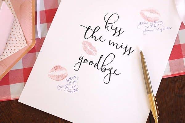 Kiss the Miss Goodbye Printable Sign