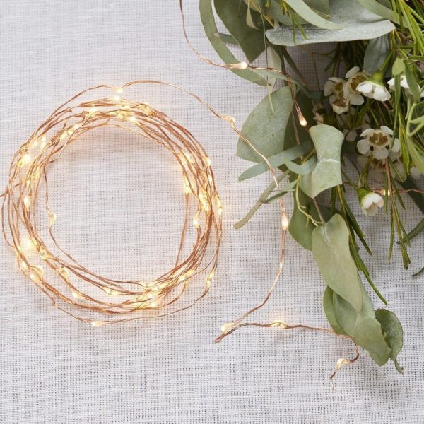 Copper or Rose Gold fairy lights for parties, weddings and christmas
