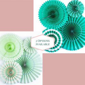 Teal and Mint Backdrop Paper Fans for a Mermaid or Mint to Be Party