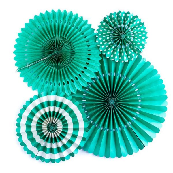 Teal Party Fans for a Mermaid Party