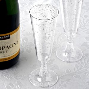 Mimosa Bar Silver Glittered Champagne Flutes for a Baby & co or Bride and Co shower