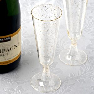 Mimosa Bar Gold Glitter Champagne Flutes