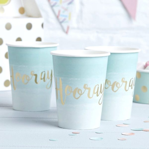 Mint and Gold Paper Cups with Hooray on each