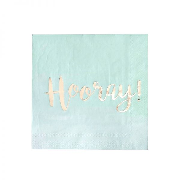 Hooray Mint and Gold paper napkins for a mermaid party