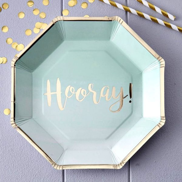 Hooray Mint and Gold Paper Plates - Perfect for an Elegant Graduation Party