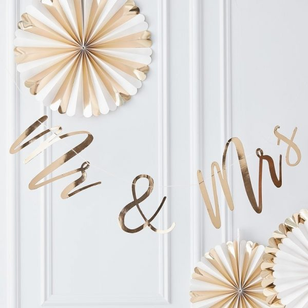 Gold Mr and Mrs Banner for Wedding Chairs and Reception