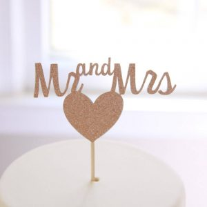 handmade and unique mr and mrs rose gold sparkle wedding cake topper