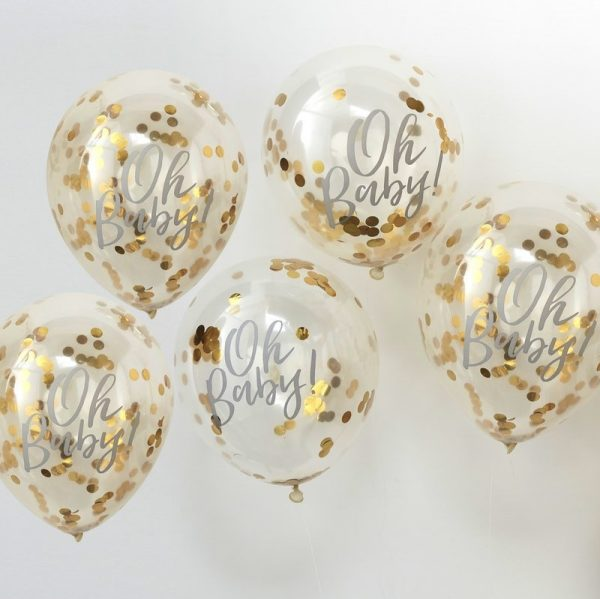 Gold oh baby balloons filled with confetti for a modern baby shower