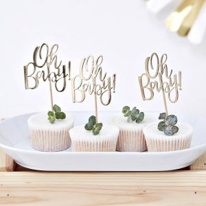 oh baby gold cupcake toppers