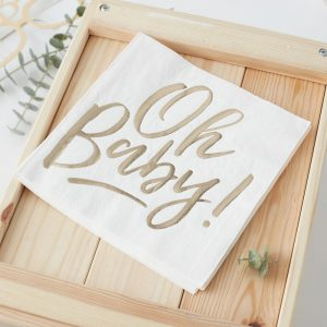 Oh Baby Napkins gold baby shower