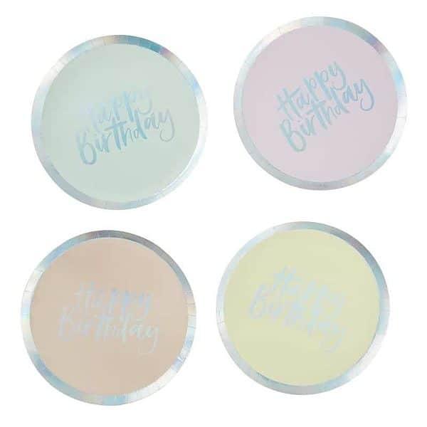 Pastel Happy Birthday Plates