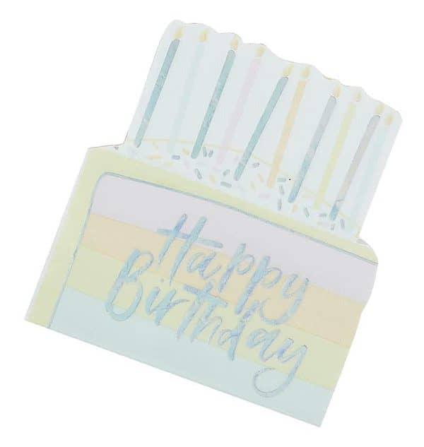 Pastel Happy Birthday Cake Napkins