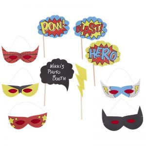 Comic Superhero POW BLAST HERO photo booth props and masks