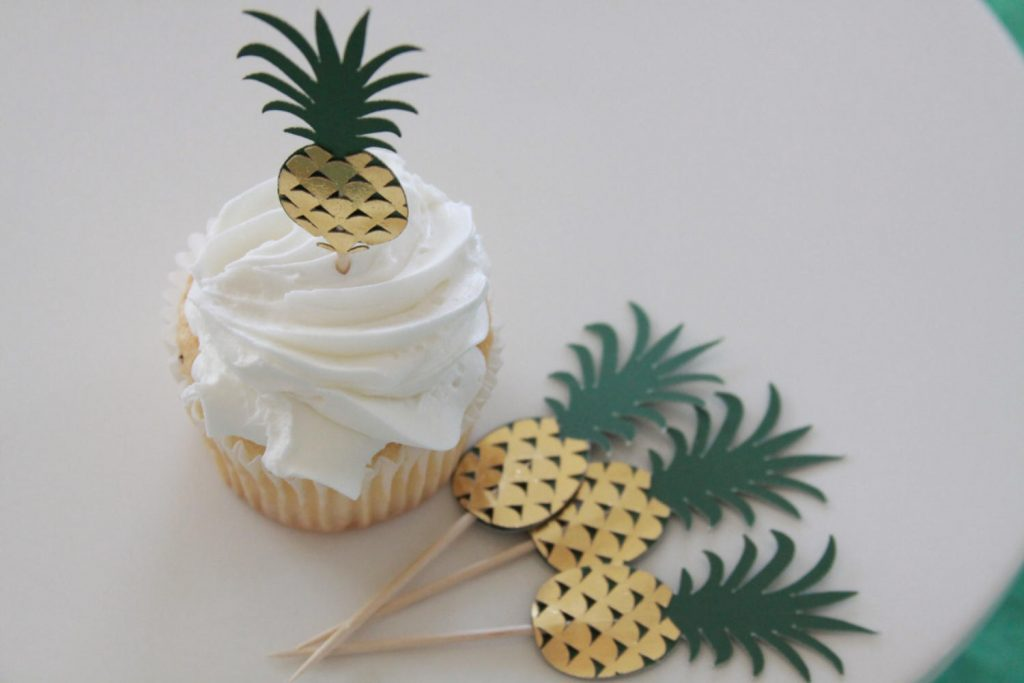Pineapple Tropical Cupcake Toppers for a bridal shower or baby shower