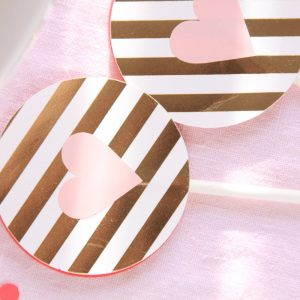Pink and Gold Bridal Shower Toppers