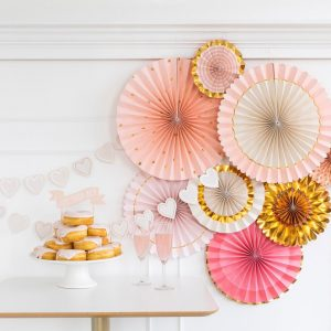 pink and gold party photo backdrop fans - bride to be
