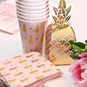Gold pineapple cocktail napkins and cups with our gold foil pineapple favor boxes for tropical themed events