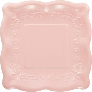 Pink Square paper plate for baby girl shower