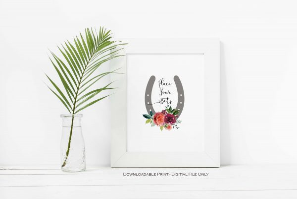 Place Your Bets Printable Sign for a Kentucky Derby Party or Bridal Shower