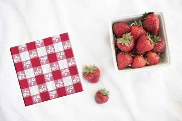 Red and white gingham napkin