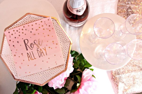 Rose all day napkins in blush and rose gold
