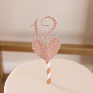 Rose gold number 12 cake topper