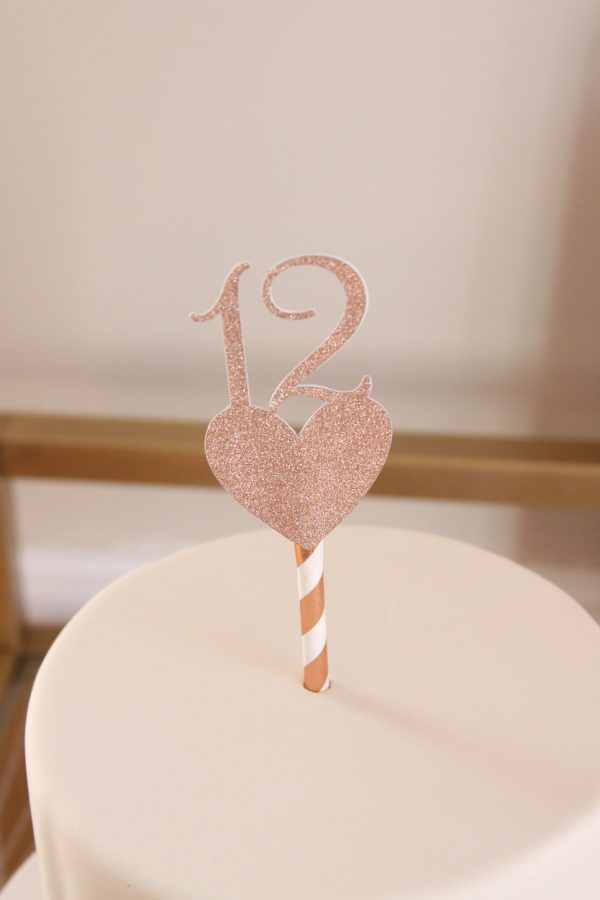 Rose gold number 12th birthday cake topper