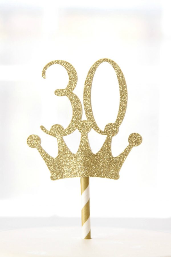 30th birthday gold crown topper in gold sparkle paper, also available in rose gold