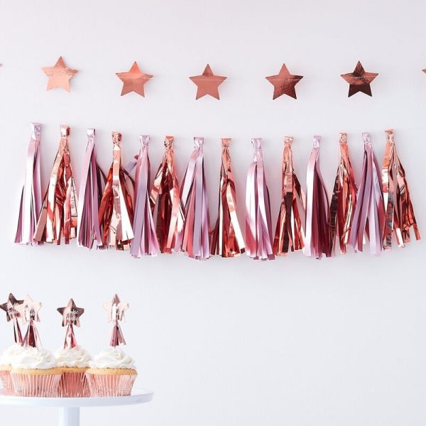 Rose gold and pink tassel garland kit by EnFete for a baby shower