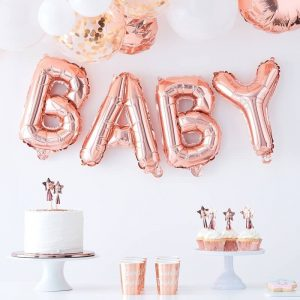 Rose gold baby letter balloons for a baby shower