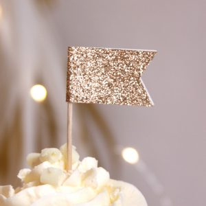 Rose gold glitter cupcake flags perfect for wedding cupcakes and bridal showers.