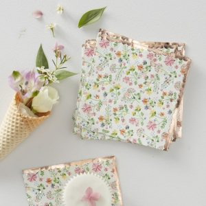 Rose gold foil and floral napkins for bridal showers and Kentucky Derby cocktails