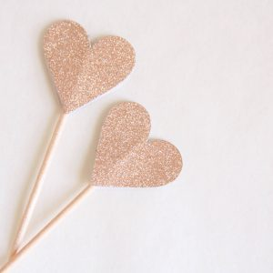 Rose gold heart toppers for a 30th birthday, wedding, Valentine's Day or bridal shower or baby shower