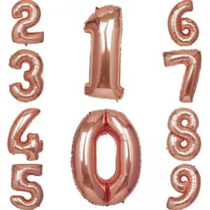 Rose Gold Number Balloons 40 inches high for milestone birthdays