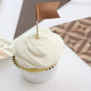 Cupcake flag in copper for rustic wedding shower High End Boutique Party Supplies for Bridal Showers, BIrthday Parties, and Weddings by EnFete
