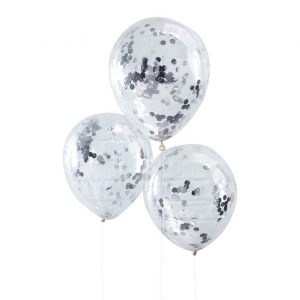Silver Confetti Balloons set of 5