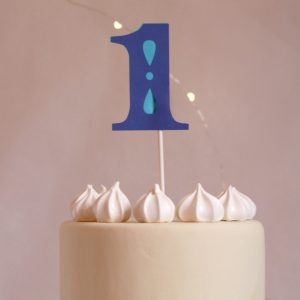 first birthday for a boy - cake topper in blue