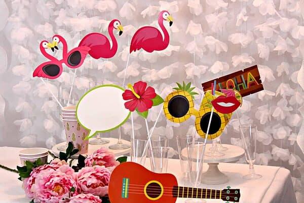 flamingo pineapple and hawaiian themed tropical photo booth props