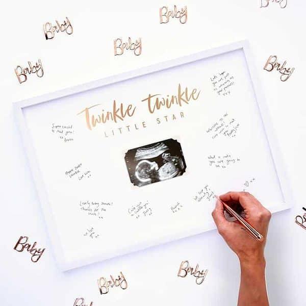 Twinkle Twinkle Little Star Baby Shower Alternative Guest Book Ultrasound Frame