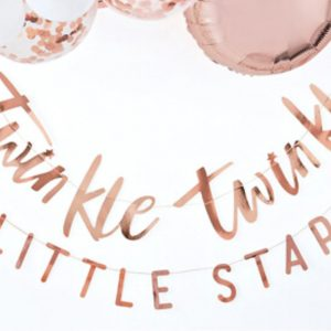 Rose Gold Twinkle Twinkle Little Star Banner