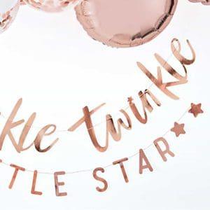 Rose Gold Twinkle Twinkle Little Star Banner