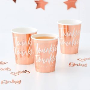Twinkle Twinkle Little Star Rose Gold Party Cups