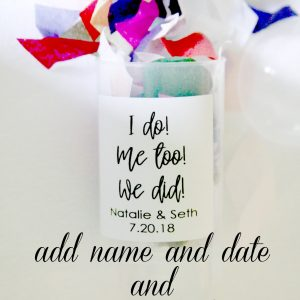 wedding confetti poppers and elopement announcement